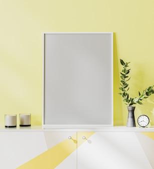 Poster frame mock up op gele muur achtergrond, staande op een witte, grijze en gele commode met decoraties, 3d-rendering