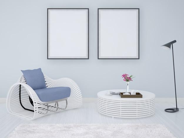 Poster frames achtergrond met fauteuil en koffietafel