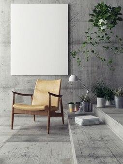 Poster in de abstracte interieur betonnen achtergrond