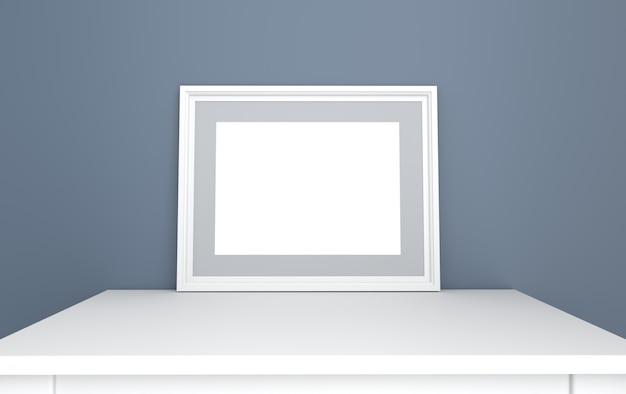 Poster in een klassiek frame op een grijze muurachtergrond met een tafel, 3d render, mockup-scène