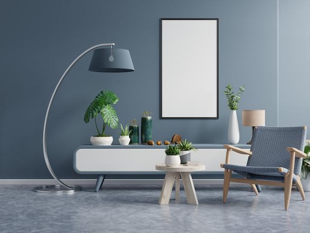 Poster met verticaal frame op lege donkergroene muur in woonkamer interieur met donkerblauwe fluwelen fauteuil. 3d-weergave