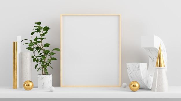 Poster mock-up met verticale houten frame 3d-rendering