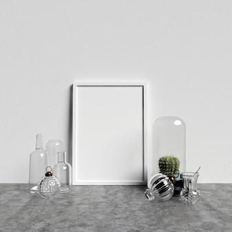 Poster mockup interieur met glazen decoraties