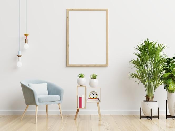 Poster Mockup Met Verticale Frames Op Lege Witte Muur In Woonkamer Interieur Met Blauw Fluwelen Fauteuil 3d Rendering Premium Foto