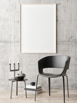Poster op betonnen muur minimale decoratiekamer