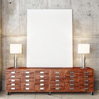 Poster op groot houten bureau met twee lampen