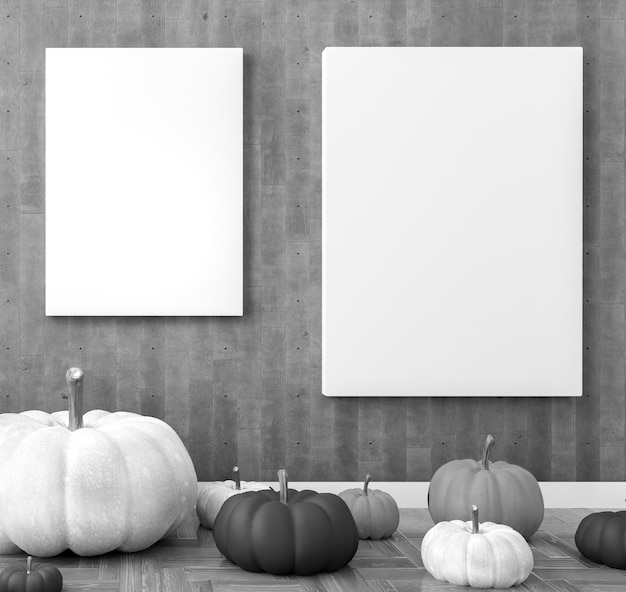 .poster sjabloon in een woonkamer. halloween decoratie. zwart-witte pompoenen.