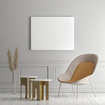 Poster sjabloon op grijze muur achtergrond moderne meubels 3d render 3d illustratie