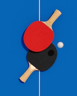 Poster twee tafeltennis of pingpongrackets en bal op een tafel met netto 3d illustratie