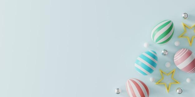 Poster, wenskaart en sjabloon voor spandoek met paaseieren op lichtblauw