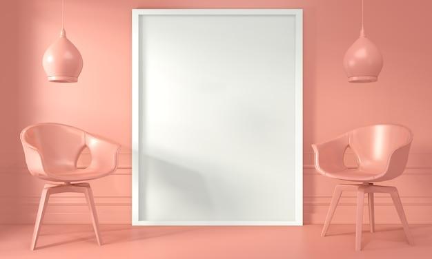 Posterframe en stoel, lamp op woonkamer interieur living koraalstijl. 3d-weergave