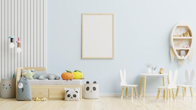 Posterframe in de kinderkamer op lichtblauwe muur. 3d-weergave