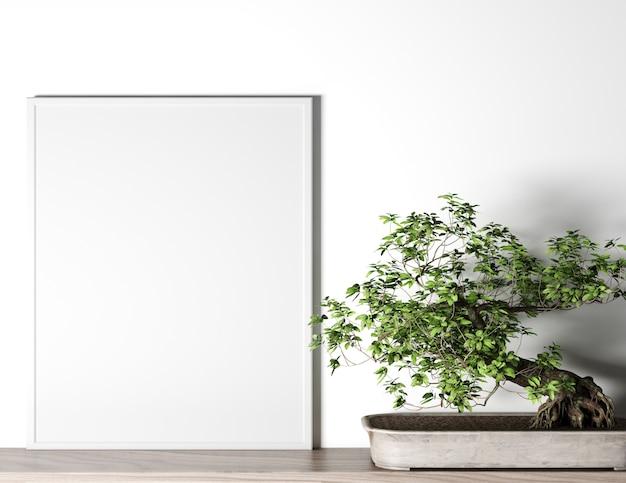 Posterframe in moderne interieur achtergrond, woonkamer, scandinavische stijl, gestileerd stock photography, poster mockup, modern interieur. Premium Foto