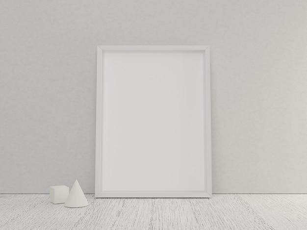 Posterframe leeg met witte houten vloer en mini geometrisch model