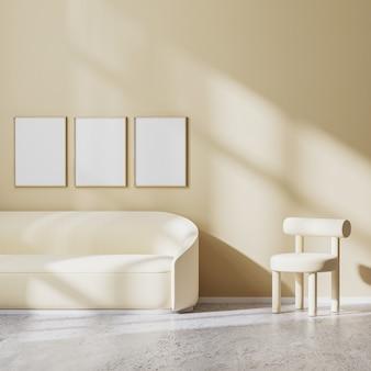 Posterframe mock-up in modern minimalistisch design van woonkamer met lichtbeige fauteuil en bank met zonnestralen op muur, beige muur en betonnen vloer, 3d-rendering