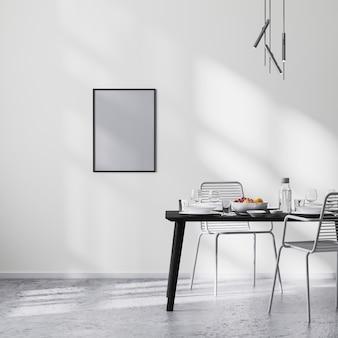 Posterframe mock up in moderne eetkamer interieur met zwarte tafel en stoelen en witte muur met zonnestralen, betonnen vloer, minimalistische stijl, scandinavische, 3d-rendering
