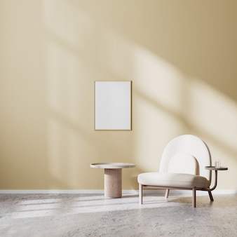 Posterframe mock up in moderne woonkamer interieur met beige fauteuil en salontafel met beige muur en betonnen vloer, scandinavische stijl, 3d-rendering