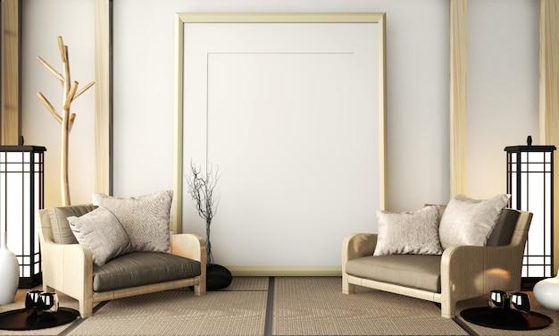 Posterframe op kamer erg zen met fauteuil op tatami-vloer. 3d-weergave