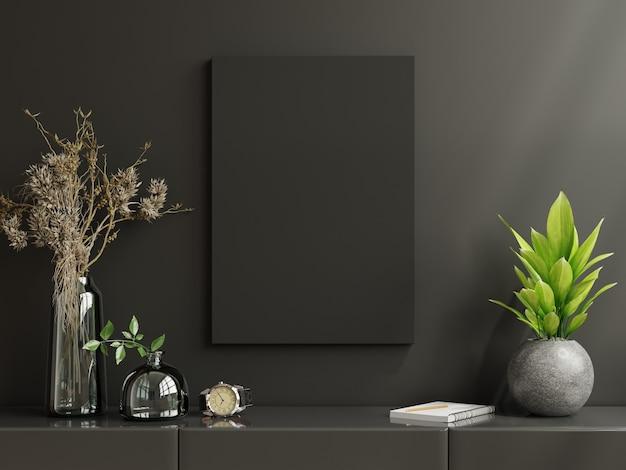 Posterframe op kast in woonkamer interieur op lege donkere muur, 3d-rendering