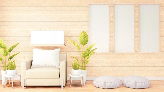 Posterframe, witte bank op het interieur van de zolderkamer, oranje bakstenen muurontwerp. 3d-rendering
