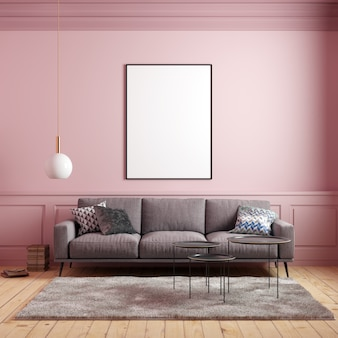 Postermodel in roze interieur met bank en decoraties