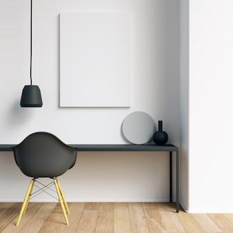 Postermodel met minimalistische decoratie