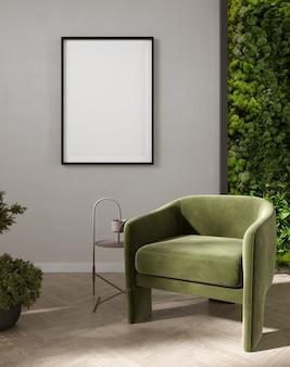 Postermodel met verticale frames op lichtgrijze muur in woonkamerinterieur met groene fluwelen fauteuil en mosmuur. 3d-rendering