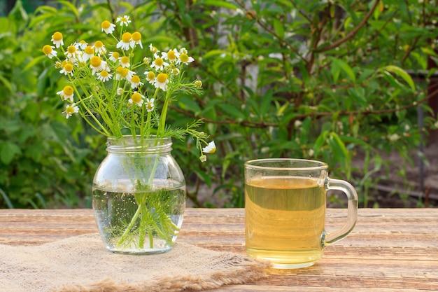 Pot met witte kamille bloemen en glazen kopje groene thee op houten planken met groene natuurlijke achtergrond.
