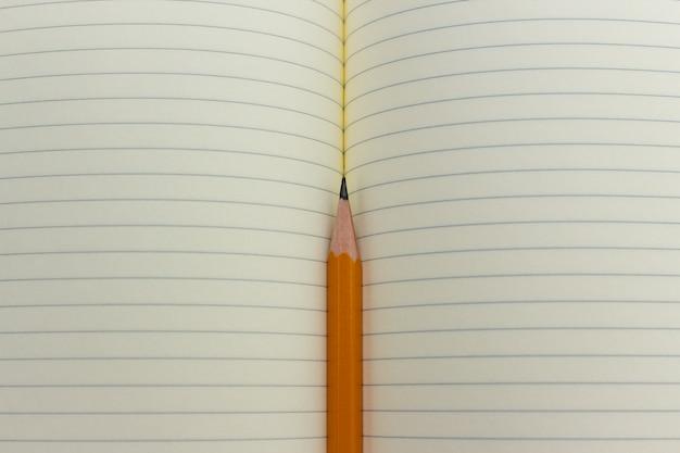 Potlood en notitieboekje of voorbeeldenboek of organisator. schoolles, kantoorvergadering, brieven schrijven.