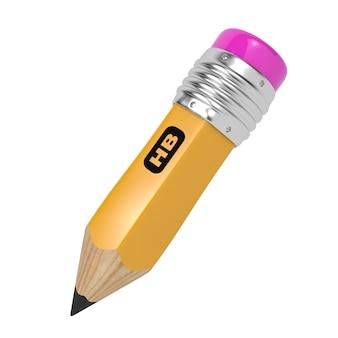 Potlood van gele kleur met rubber aan het uiteinde. geïsoleerd op wit.