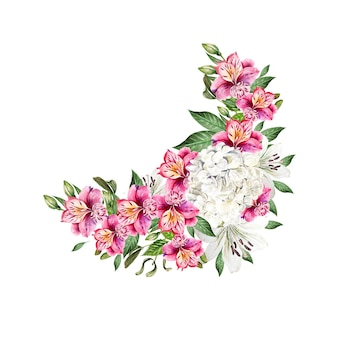 Prachtig aquarel bruidsboeket met bladeren en bloemen van lelie, alstroemeria en hudrangea. illustratie