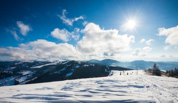 Prachtig betoverend uitzicht op berghellingen met dicht struikgewas van bomen en sneeuwbanken
