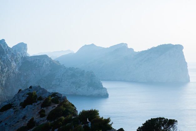 Prachtig blauw helder zeewater in mallorca spanje zomer landschap