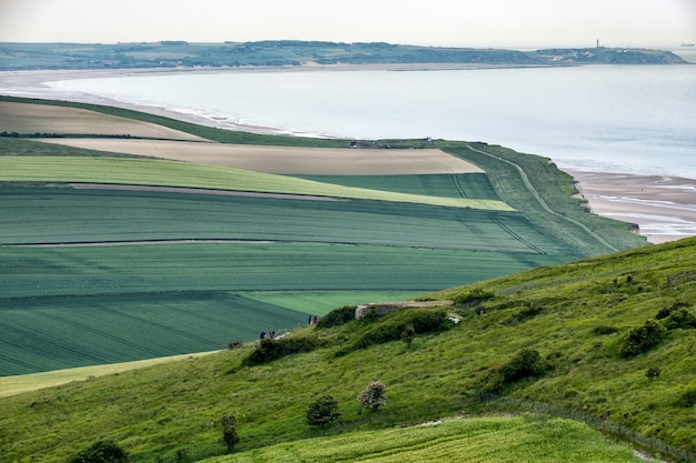 Prachtig groen landschap nabij het meer in bretagne, frankrijk