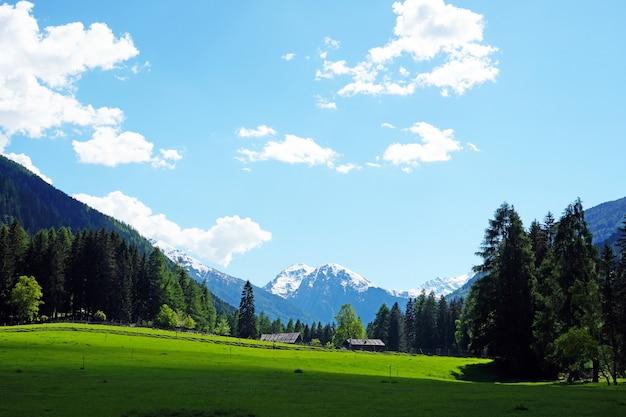 Prachtig landschap met boerderijen, bomen en besneeuwde bergen