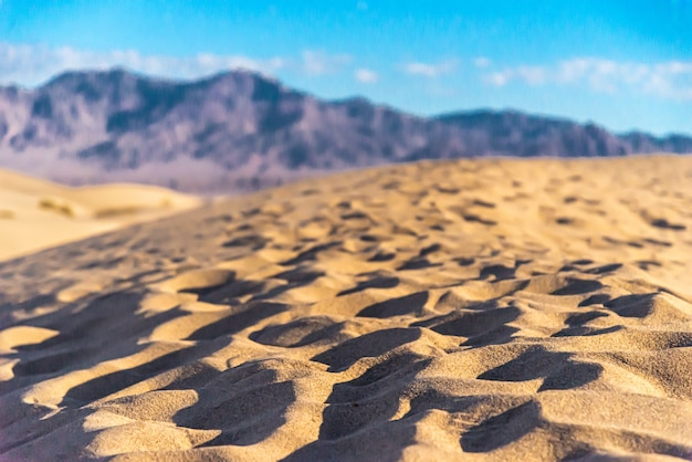 Prachtig landschap van de mesquite flat sand dunes, death valley, californië