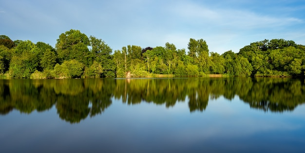 Prachtig landschap van een meer met de reflectie van omringende groene bomen