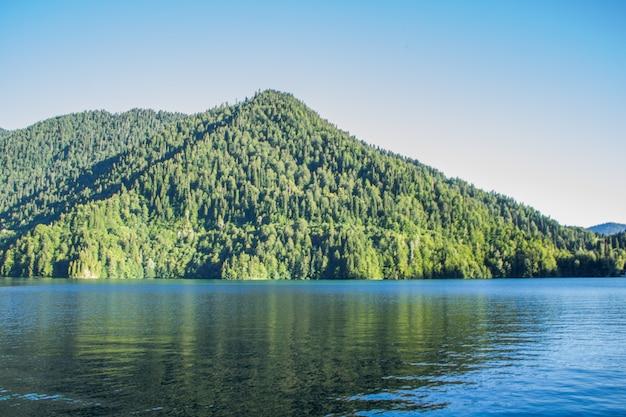 Prachtig meer met een berg vol bomen