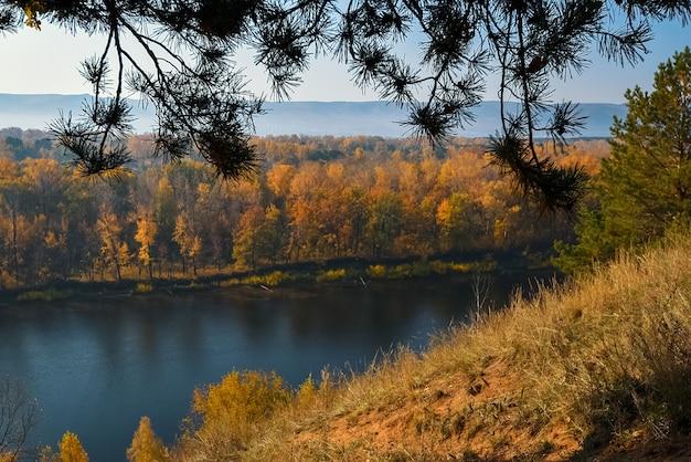 Prachtig panorama van het herfstbos, over de rivier op de heuvels van de berg. geweldige vallei tussen berghellingen.