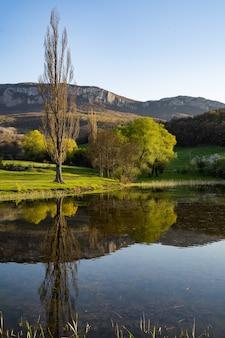 Prachtig rivierlandschap. veel groen en frisse lucht. hoge bergen in de verte.