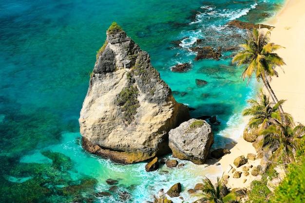 Prachtig strand. selectieve focus op grote rots op mooi tropisch strand met palmbomen. vakantie en vakantie concept.