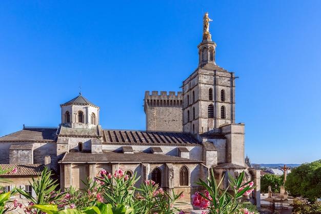 Prachtig uitzicht op de kathedraal van avignon (kathedraal van onze-lieve-vrouw van doms) naast pauselijk paleis in avignon, frankrijk