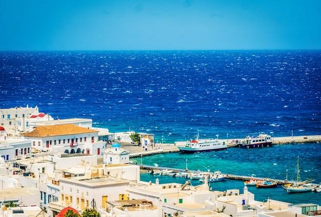 Prachtig uitzicht op de stad mykonos