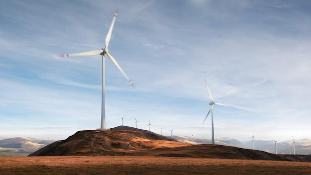Prachtig uitzicht op de windturbines op een veld landschap. wind energie generator