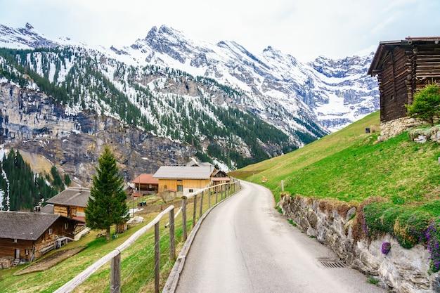 Prachtig uitzicht op het landschap in de alpen in gimmelwald