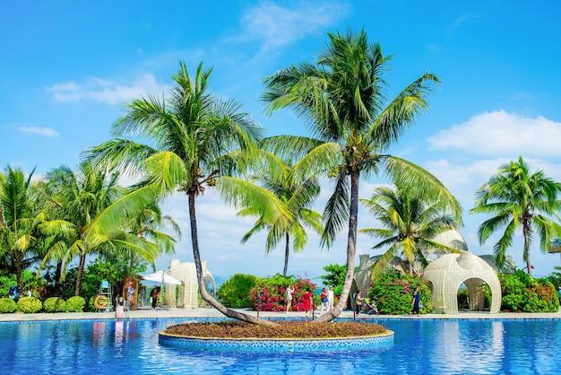 Prachtig uitzicht op het zwembad en de palmbomen op het eiland wuzhizhou. haitang bay, sanya-stad, hainan-eiland.