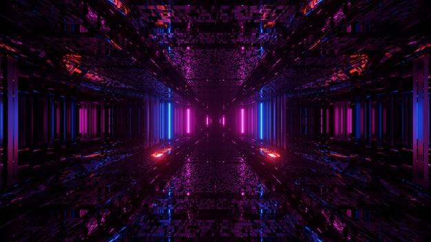 Prachtig uitzicht op kleurrijke neonlichten met patronen in de duisternis