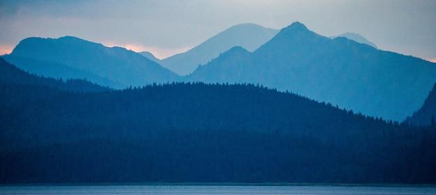 Prachtig uitzicht vanaf de zee naar de bergen en bossen in de fjorden van alaska.