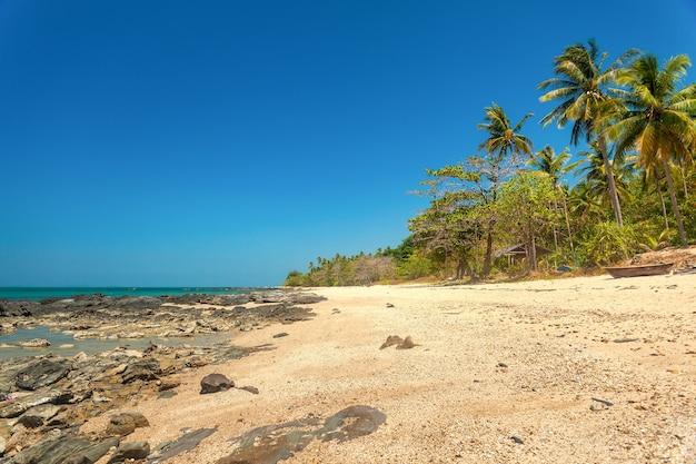 Prachtig wild tropisch zandstrand met een rotsachtige kust en kokospalmen.