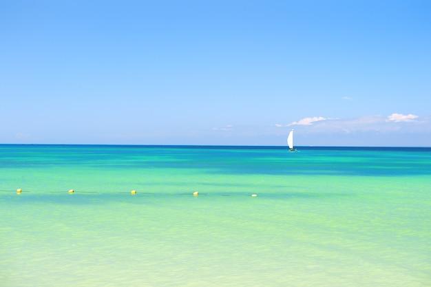 Prachtig zeezicht op de zeekustlijn met schoon golvend surfwater aan de horizon van het zandstrand en bewolkte blauwe lucht op zonnige dag Premium Foto